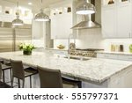white kitchen design features...   Shutterstock . vector #555797371