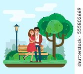 loving couple on date in park.... | Shutterstock .eps vector #555802669