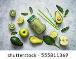 healthy green smoothie in mason ... | Shutterstock . vector #555811369