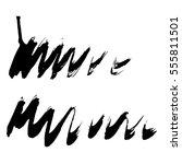 set of black paint  ink  grunge ... | Shutterstock .eps vector #555811501