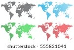 set of world maps from hexagons | Shutterstock .eps vector #555821041