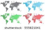 set of world maps from hexagons | Shutterstock .eps vector #555821041