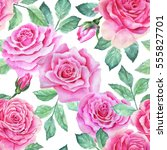 watercolor flower pattern | Shutterstock . vector #555827701