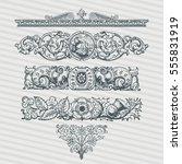 vector set vintage ornate... | Shutterstock .eps vector #555831919