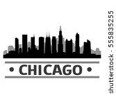 chicago silhouette skyline   | Shutterstock .eps vector #555835255