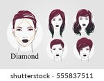 vector set beautiful women icon ... | Shutterstock .eps vector #555837511