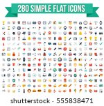 280 simple flat vector icons | Shutterstock .eps vector #555838471