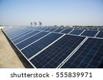 photovoltaic solar panels on... | Shutterstock . vector #555839971