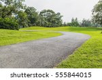 road in the park with tree... | Shutterstock . vector #555844015