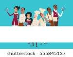 restaurant stuff cook and...   Shutterstock .eps vector #555845137