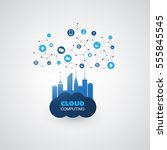 cloud computing design concept... | Shutterstock .eps vector #555845545