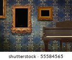 room and an old piano - stock photo
