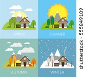 four seasons   landscape with... | Shutterstock .eps vector #555849109