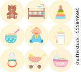 baby flat icons set.    Shutterstock .eps vector #555849865