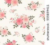 seamless floral background with ... | Shutterstock .eps vector #555859411