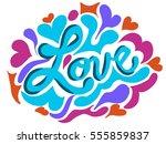 colorful love inscription doodle | Shutterstock .eps vector #555859837