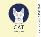 sphynx cat logo  vector... | Shutterstock .eps vector #555869269