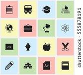 set of 16 editable education... | Shutterstock .eps vector #555878191