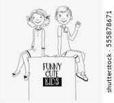 funny kids with whiteboard.... | Shutterstock .eps vector #555878671