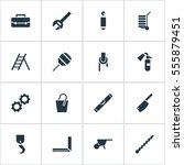 set of 16 editable tools icons. ... | Shutterstock . vector #555879451