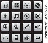 set of 16 editable audio icons. ...