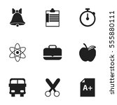 set of 9 editable school icons. ... | Shutterstock . vector #555880111