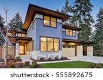 luxurious new construction home ... | Shutterstock . vector #555892675