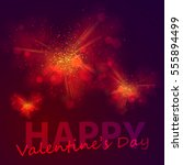 gold and red hearts from dust ... | Shutterstock .eps vector #555894499