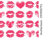seamless pattern with lipstick... | Shutterstock .eps vector #555900751