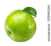 apple isolated on white... | Shutterstock . vector #555902341