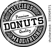 fresh made donuts vintage style ... | Shutterstock .eps vector #555909571