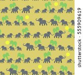 big and small elephants.... | Shutterstock .eps vector #555909619