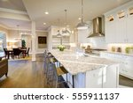 white kitchen design features... | Shutterstock . vector #555911137