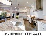 white kitchen design features... | Shutterstock . vector #555911155