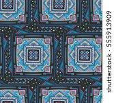 handdrawn ethnic ornamental... | Shutterstock .eps vector #555913909