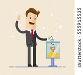 businessman making a donation ... | Shutterstock .eps vector #555915535