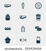 vector illustration of 12 dish... | Shutterstock .eps vector #555929434