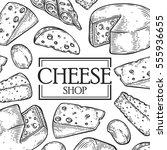 cheese shop milk organic vector ... | Shutterstock .eps vector #555936655