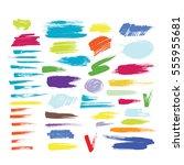 brush strokes painted vector... | Shutterstock .eps vector #555955681