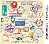 vector document stamp set.... | Shutterstock .eps vector #555962011