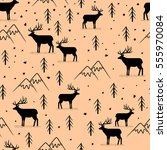 seamless pattern with wild deer | Shutterstock .eps vector #555970084