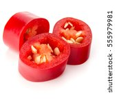 sliced red chili or chilli... | Shutterstock . vector #555979981