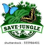 vector jungle emblem with... | Shutterstock .eps vector #555986401