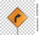 orange road sign with arrow on... | Shutterstock .eps vector #555987805