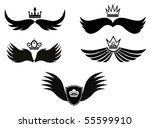 wings with crown | Shutterstock .eps vector #55599910
