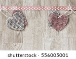 Red And Tan Burlap Hearts On...