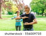 senior couple doing tai chi in... | Shutterstock . vector #556009735