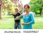 Senior Couple Doing Tai Chi In...
