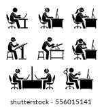 employee working with computer... | Shutterstock . vector #556015141