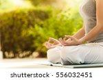 yoga girl in the summer park... | Shutterstock . vector #556032451